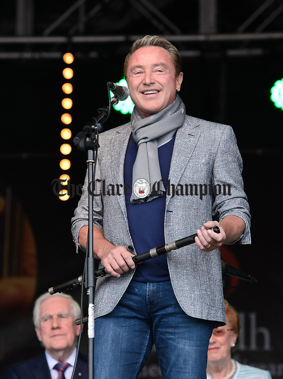 Michael Flatley speaking at the official opening of the All-Ireland Fleadh 2017 in Ennis. Photograph by John Kelly.