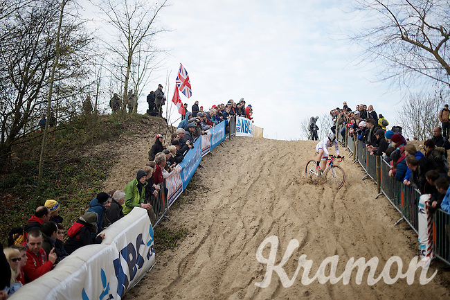 Katherine 'Katie' Compton (USA/Trek) having a tricky moment descending one of the sand dunes<br /> <br /> Koksijde CX World Cup 2014