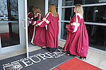 Students at Eureka College, the alma matter of President Ronald Reagan, file into the gymnasium before Mikhail Gorbachev, the last premier of the Soviet Union, is presented with an honorary doctorate in Eureka, Illinois on March 27, 2009.  Gorbachev called Reagan a partner whom he trusted.