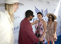 www.acepixs.com<br /> <br /> January 28 2017, Hallandale, FL<br /> <br /> (l-R) Karolina Kurkova, Usher, Emmanuelle Chriqui and Vanessa Hudgens arriving at the Pegasus World Cup at Gulfstream Park on January 28, 2017 in Hallandale, Florida.<br /> <br /> By Line: Solar/ACE Pictures<br /> <br /> ACE Pictures Inc<br /> Tel: 6467670430<br /> Email: info@acepixs.com<br /> www.acepixs.com