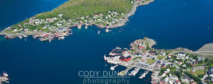 Panoramic view from Reinebringen down to Reine, Lofoten islands, Norway