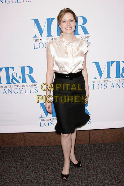 "JENNA FISCHER.The 24th Annual William S. Paley Television Festival - An Evening with ""The Office"" held at the Directors Guild of America, Los Angeles, California, USA..March 2nd, 2007.full length black skirt blouse satin white black polka dot .CAP/ADM/ZL.©Zach Lipp/AdMedia/Capital Pictures"