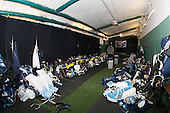 Room prep begins. Maine was assigned the Red Sox's batting cage as a makeshift dressing room.  - The University of Maine Black Bears defeated the Boston University Terriers 7-3 (2EN) on Saturday, January 11, 2014, at Fenway Park in Boston, Massachusetts.