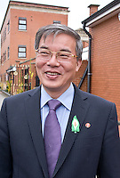 Ambassador to UK His Excellency Mr. Hyon Hak Bong of the Democratic People's Republic of Korea in Southall after attending a Saklatvala Hall Commemoration which celebrated the centenary of  Kim Il-sung's birth, sporting an Easter Lilly, Easter Sunday 2012