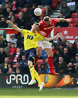 Nottingham Forest's Daryl Murphy battles with Blackburn Rovers' Darragh Lenihan<br /> <br /> Photographer David Shipman/CameraSport<br /> <br /> The EFL Sky Bet Championship - Nottingham Forest v Blackburn Rovers - Saturday 13th April 2019 - The City Ground - Nottingham<br /> <br /> World Copyright © 2019 CameraSport. All rights reserved. 43 Linden Ave. Countesthorpe. Leicester. England. LE8 5PG - Tel: +44 (0) 116 277 4147 - admin@camerasport.com - www.camerasport.com