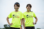 Wings for Life Ambassadors and TV News Anchors Hua Chin (left) and Po Yu Lin (right) pose for a photograph during the Wings for Life World Run on 08 May, 2016 in Yilan, Taiwan. Photo by Victor Fraile / Power Sport Images