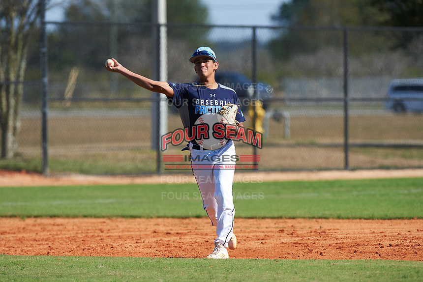 Juhlien Gonzalez (8) of Southwest Ranches, Florida during the Baseball Factory All-America Pre-Season Rookie Tournament, powered by Under Armour, on January 14, 2018 at Lake Myrtle Sports Complex in Auburndale, Florida.  (Michael Johnson/Four Seam Images)