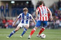 02.05.2012 SPAIN -  La Liga matchday 20th  match played between Atletico de Madrid vs Real Sociedadl (1-1) at Vicente Calderon stadium. The picture show Asier Illarramendi Andonegi (Midfielder of Real Sociedad) and Gabriel Fernandez Arenas (Spanish midfielder of At. Madrid)