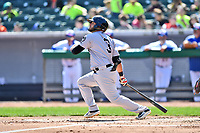 Jackson Generals right fielder Jay Gonzalez (3) swings at a pitch during a game against the Tennessee Smokies at Smokies Stadium on April 11, 2018 in Kodak, Tennessee. The Generals defeated the Smokies 6-4. (Tony Farlow/Four Seam Images)