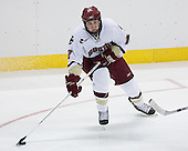 Ben Smith 12 of Boston College moves the puck. The Eagles of Boston College defeated the Falcons of Bowling Green State University 5-1 on Saturday, October 21, 2006, at Kelley Rink of Conte Forum in Chestnut Hill, Massachusetts.<br />