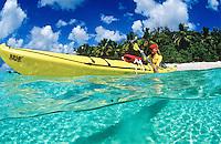 Split level kayaker.St John, US Virgin Islands