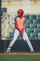Yasel Antuna (5) of the Hagerstown Suns at bat against the Kannapolis Intimidators at Kannapolis Intimidators Stadium on May 4, 2018 in Kannapolis, North Carolina.  The Intimidators defeated the Suns 11-0.  (Brian Westerholt/Four Seam Images)