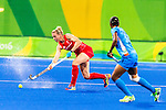 India vs Great Britain in a Pool B game at the Rio 2016 Olympics at the Olympic Hockey Centre in Rio de Janeiro, Brazil.
