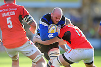Matt Garvey of Bath Rugby takes on the Saracens defence. Aviva Premiership match, between Bath Rugby and Saracens on December 3, 2016 at the Recreation Ground in Bath, England. Photo by: Patrick Khachfe / Onside Images