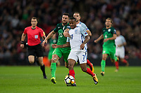 England's Raheem Sterling holds off the challenge from Slovenia's Bojan Jokic <br /> <br /> Photographer Craig Mercer/CameraSport<br /> <br /> FIFA World Cup Qualifying - European Region - Group F - England v Solvenia - Thursday 5th October 2017 - Wembley Stadium - London<br /> <br /> World Copyright &copy; 2017 CameraSport. All rights reserved. 43 Linden Ave. Countesthorpe. Leicester. England. LE8 5PG - Tel: +44 (0) 116 277 4147 - admin@camerasport.com - www.camerasport.com