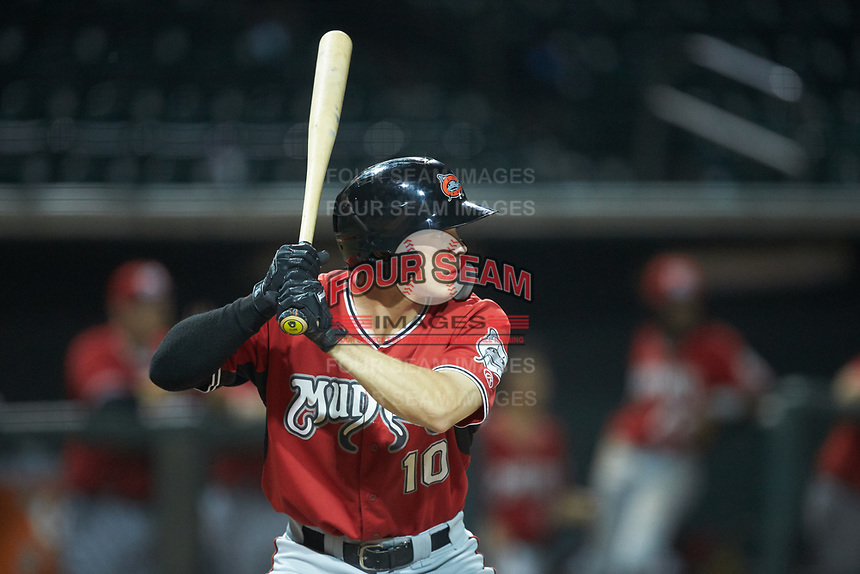 Zach Clark (10) of the Carolina Mudcats at bat against the Winston-Salem Dash at BB&T Ballpark on June 1, 2019 in Winston-Salem, North Carolina. The Dash defeated the Mudcats 5-4 in game two of a double header. (Brian Westerholt/Four Seam Images)