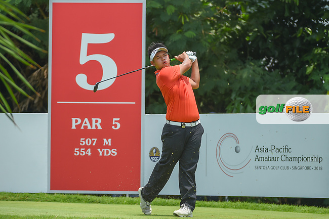 Ervin CHANG (MAS) watches his tee shot on 5 during Rd 2 of the Asia-Pacific Amateur Championship, Sentosa Golf Club, Singapore. 10/5/2018.<br /> Picture: Golffile | Ken Murray<br /> <br /> <br /> All photo usage must carry mandatory copyright credit (© Golffile | Ken Murray)