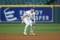 LSU Tigers second baseman Cade Doughty (4) on defense against the Texas Longhorns in game three of the 2020 Shriners Hospitals for Children College Classic at Minute Maid Park on February 28, 2020 in Houston, Texas. The Tigers defeated the Longhorns 4-3. (Brian Westerholt/Four Seam Images)