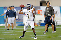 30 March 2012:  FIU's E.J. Hilliard (7) passes at the FIU Football Spring Game at University Park Stadium in Miami, Florida.