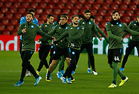 26th November 2019; Anfield, Liverpool, Merseyside, England; UEFA Champions League, Liverpool versus Napoli, Napoli Training; SSC Napoli players warm up during their open training session at Anfield ahead of tomorrow's Champions League group match against Liverpool