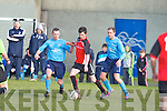 Park's Michael and Kilbarrack United's Gavin Coughlan in action in the FAI Junior cup in Dublin on Sunday.