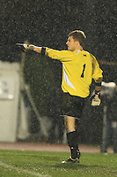 November 13, 2008: University of Michigan's Patrick Sperry (#1) celebrates after saving a kick on goal during the first round of the 2008 Big Ten Tournament in Madison Wisconsin..
