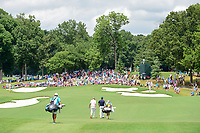 Jordan Spieth (USA) and Ian Poulter (GBR) make their way down 14 during Sunday's final round of the PGA Championship at the Quail Hollow Club in Charlotte, North Carolina. 8/13/2017.<br /> Picture: Golffile | Ken Murray<br /> <br /> <br /> All photo usage must carry mandatory copyright credit (&copy; Golffile | Ken Murray)