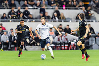 LOS ANGELES, CA - MARCH 08: Eddie Segura # 4 and  Dejan Jakovic #5 of LAFC and Kacper Przybylko #23 of Philadelphia Union during a game between Philadelphia Union and Los Angeles FC at Banc of California Stadium on March 08, 2020 in Los Angeles, California.