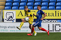Christian Ribeiro of Oxford United clears the ball during the Sky Bet League 1 match between Peterborough and Oxford United at the ABAX Stadium, London Road, Peterborough, England on 30 September 2017. Photo by David Horn.