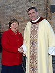 Sr Angela Reilly congratulates Fr. Denis McNelis on the 25th anniversary of his ordination to the priesthood. Photo:Colin Bell/pressphotos.ie