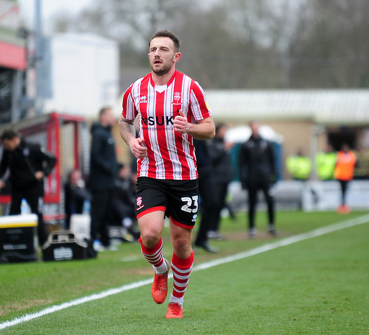Lincoln City's Neal Eardley<br /> <br /> Photographer Andrew Vaughan/CameraSport<br /> <br /> The EFL Sky Bet League Two - Lincoln City v Grimsby Town - Saturday 19 January 2019 - Sincil Bank - Lincoln<br /> <br /> World Copyright © 2019 CameraSport. All rights reserved. 43 Linden Ave. Countesthorpe. Leicester. England. LE8 5PG - Tel: +44 (0) 116 277 4147 - admin@camerasport.com - www.camerasport.com