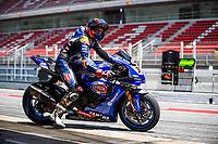 8th July 2020; Circuit de Barcelona Catalunya, Barcelona, Spain; FIM Superbike World Championship tests;  Day One; Garrett Gerloff of the GRT Yamaha WorldSBK Junior Team leaves the garage