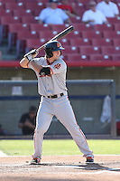 Seth Harrison (48) of the San Jose Giants bats during a game against the High Desert Mavericks at Mavericks Stadium on June 14, 2015 in Adelanto, California. High Desert defeated San Jose, 7-5. (Larry Goren/Four Seam Images)
