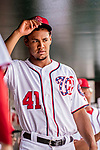8 July 2017: Washington Nationals starting pitcher Joe Ross awaits the start of play prior to a game against the Atlanta Braves at Nationals Park in Washington, DC. The Braves shut out the Nationals 13-0 to take the third game of their 4-game series. Mandatory Credit: Ed Wolfstein Photo *** RAW (NEF) Image File Available ***