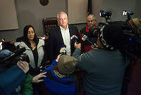 Bucks County District Attorney Matt Weintraub speaks with the media after the arraignment of Jacob Sullivan Sunday January 8, 2017 in Newtown, Pennsylvania. Sullivan is accused of conspiring with Sara Packer, Grace's mother, to rape and kill the teen, dismembering her body and dumping her remains in a wooded area of Northeastern Pennsylvania, some 100 miles from where Grace lived in Abington Township. (Photo by William Thomas Cain/Cain Images)
