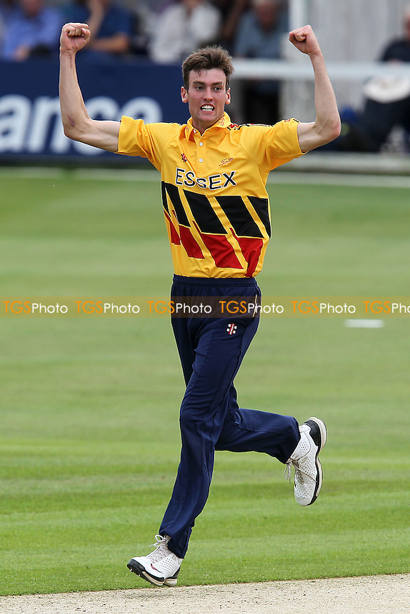 Reece Topley of Essex celebrates the wicket of George Bailey - Essex Eagles vs Australia - Tourist Match Cricket at the Ford County Ground, Chelmsford, Essex - 26/06/12 - MANDATORY CREDIT: Gavin Ellis/TGSPHOTO - Self billing applies where appropriate - 0845 094 6026 - contact@tgsphoto.co.uk - NO UNPAID USE.