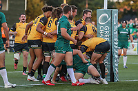 Tom Denton of Ealing Trailfinders celebrates with team mates after he during the Greene King IPA Championship match between Ealing Trailfinders and London Irish Rugby Football Club  at Castle Bar, West Ealing, England  on 1 September 2018. Photo by David Horn.