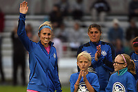 Kansas City, MO - Friday May 13, 2016: Kansas City midfielder Jen Buczkowski (6) waves to the crowd before her final game. FC Kansas City and the Chicago Red Stars played to a 0-0 tie during a regular season National Women's Soccer League (NWSL) match at Swope Soccer Village.