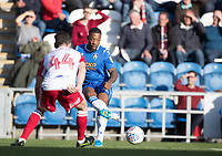 Ryan Jackson of Colchester United lays the ball inside Michael Timlin of Stevenage during Colchester United vs Stevenage, Sky Bet EFL League 2 Football at the JobServe Community Stadium on 5th October 2019