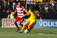 28 AUGUST 2010:  FC Dallas' Daniel Hernandez and Eddie Gaven of the Columbus Crew (12) during MLS soccer game between FC Dallas vs Columbus Crew at Crew Stadium in Columbus, Ohio on August 28, 2010.