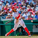 14 April 2018: Washington Nationals infielder Wilmer Difo gets an RBI single in the 7th inning against the Colorado Rockies at Nationals Park in Washington, DC. The Nationals rallied to defeat the Rockies 6-2 in the 3rd game of their 4-game series. Mandatory Credit: Ed Wolfstein Photo *** RAW (NEF) Image File Available ***