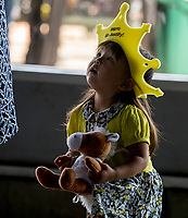 ELMONT, NY - JUNE 09: A young Justify fan holds a stuffed toy of his likeness on Belmont Stakes Day on June 9, 2018 in Elmont, New York. (Photo by Kazushi Ishida/Eclipse Sportswire/Getty Images)