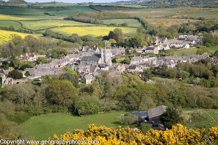Corfe village, Dorset, England is a nucleated settlement built almost entirely from local limestone. It is located in the Isle of Purbeck between Wareham and Swanage next to Corfe Castle.
