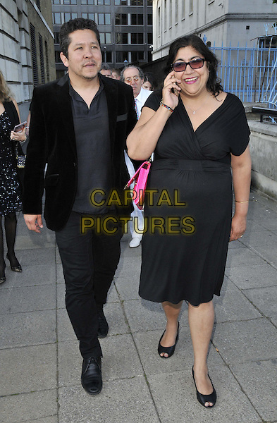 LONDON, ENGLAND - JUNE 18: Paul Mayeda Berges &amp; Gurinder Chadha attend the National Film &amp; TV School's ( NFTS ) Gala, Old Billingsgate, Old Billingsgate Walk, Lower Thames St., on Wednesday June 18, 2014 in London, England, UK.<br /> CAP/CAN<br /> &copy;Can Nguyen/Capital Pictures