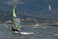 Action Photo of windsurfers on Okanagan Lake, British Columbia.