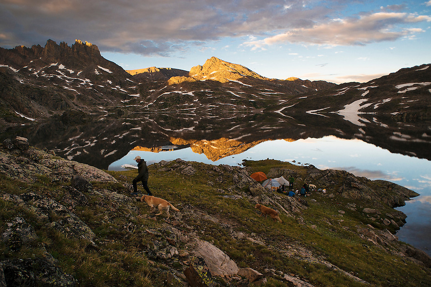 Campers take in the sunset at Upper Aero Lake in the Absaroka-Beartooth Wilderness.