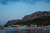 Dusk in the harbour of Kastellorizo, Greece