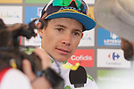 Miguel Angel Lopez Moreno (COL) Astana Pro Team retains the young riders White Jersey at the end of Stage 3 of La Vuelta 2019 running 188km from Ibi. Ciudad del Juguete to Alicante, Spain. 26th August 2019.<br /> Picture: Colin Flockton | Cyclefile<br /> <br /> All photos usage must carry mandatory copyright credit (© Cyclefile | Colin Flockton)