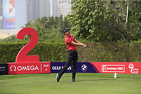 Jeunghun Wang (KOR) on the 2nd tee during Round 1 of the Omega Dubai Desert Classic, Emirates Golf Club, Dubai,  United Arab Emirates. 24/01/2019<br /> Picture: Golffile | Thos Caffrey<br /> <br /> <br /> All photo usage must carry mandatory copyright credit (&copy; Golffile | Thos Caffrey)