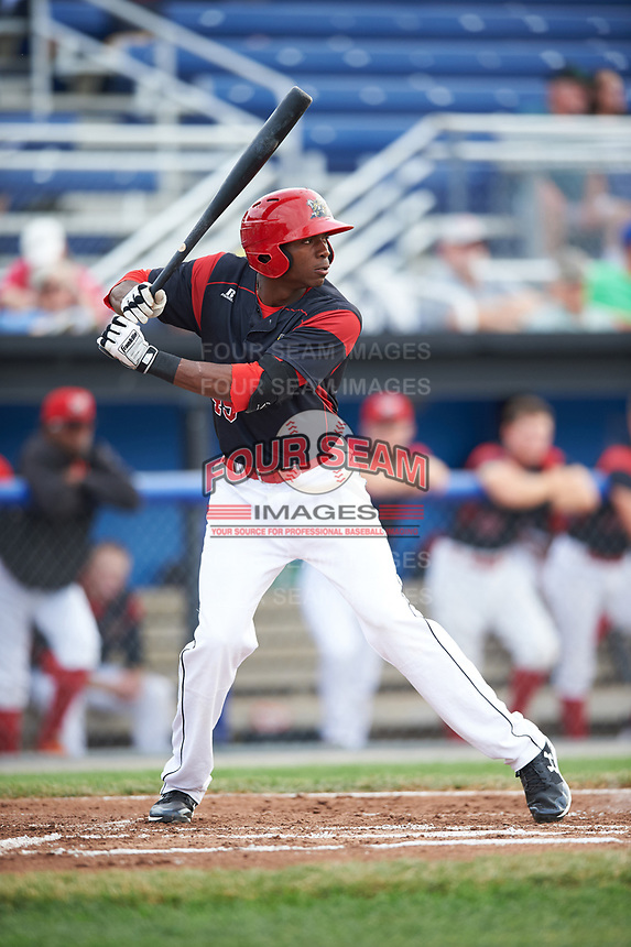 Batavia Muckdogs center fielder Thomas Jones (49) at bat during a game against the Auburn Doubledays on July 6, 2017 at Dwyer Stadium in Batavia, New York.  Auburn defeated Batavia 4-3.  (Mike Janes/Four Seam Images)